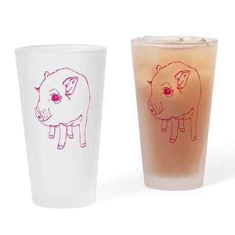 Pink Mini Pig Drinking Glass