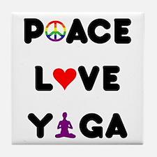 Peace Love Yoga Tile Coaster