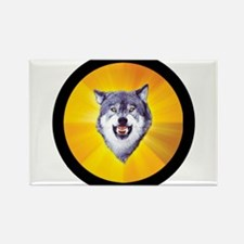 Courage Wolf Circle Rectangle Magnet