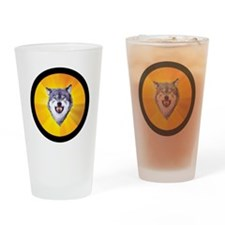 Courage Wolf Circle Drinking Glass