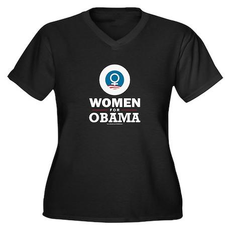 Women for Obama Women's Plus Size V-Neck Dark T-Sh