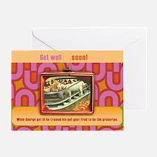 Retro TeeVee Goat Greeting Card Get Well Soon