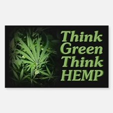 Think Green Think Hemp ~ Rectangle Decal