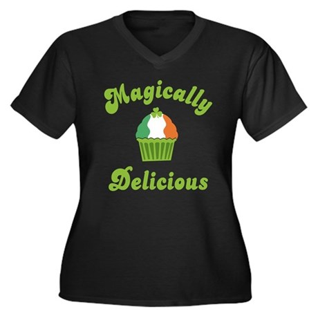 Magically Delicious Women's Plus Size V-Neck Dark