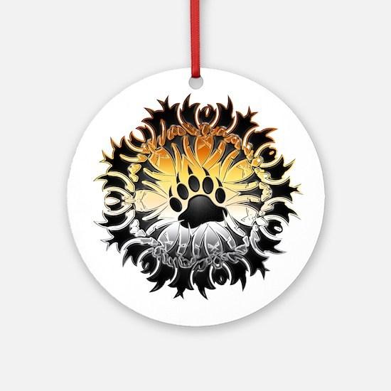 Tribal Bear Pride Paw Ornament (Round)