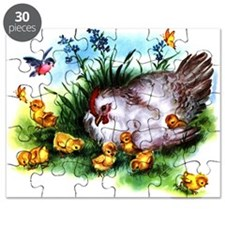 Mother Hen Yellow Chicks Puzzle