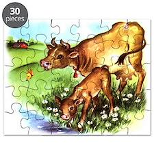 Cute Cow Calf Farm Puzzle