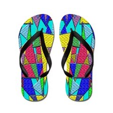 Colorful Textured Triangle Flip Flops