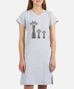Cute Gray Kitty Cats Women's Nightshirt