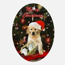Golden retriever and kittens Ornament (Oval)
