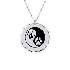 Human & Dog Yin Yang Necklace Circle Charm