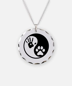 Human & Dog Yin Yang Necklace Circle Charm