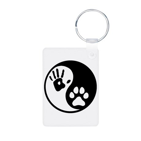Human & Dog Yin Yang Aluminum Photo Keychain