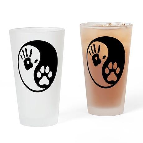Human & Dog Yin Yang Drinking Glass