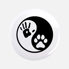 "Human & Dog Yin Yang 3.5"" Button"