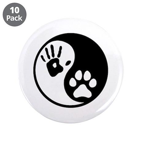 """Human & Dog Yin Yang 3.5"""" Button (10 pack)"""