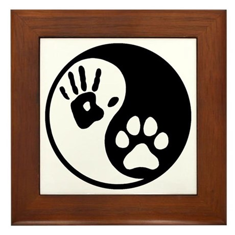 Human & Dog Yin Yang Framed Tile