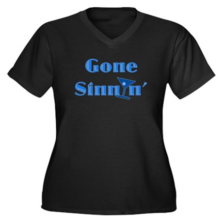 Gone Sinnin' Women's Plus Size V-Neck Dark T-Shirt