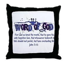 Word of God - John 3:16 - Blu Throw Pillow