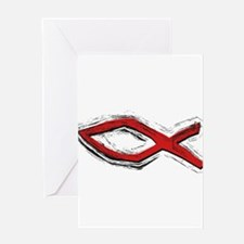 Red Fish - Ichthys - Christia Greeting Card