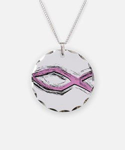 Pink Fish - Ichthys - Christ Necklace Circle Charm