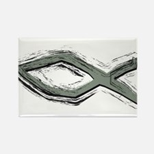 Grey Fish - Ichthys - Christ Rectangle Magnet (10