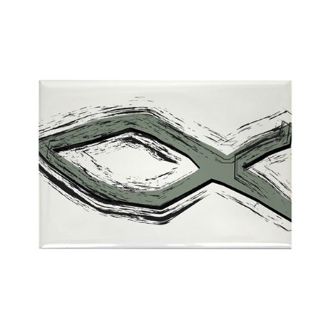 Grey Fish - Ichthys - Christ Rectangle Magnet