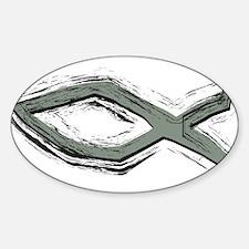 Grey Fish - Ichthys - Christ Sticker (Oval)