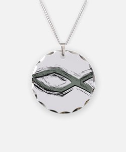 Grey Fish - Ichthys - Christ Necklace Circle Charm