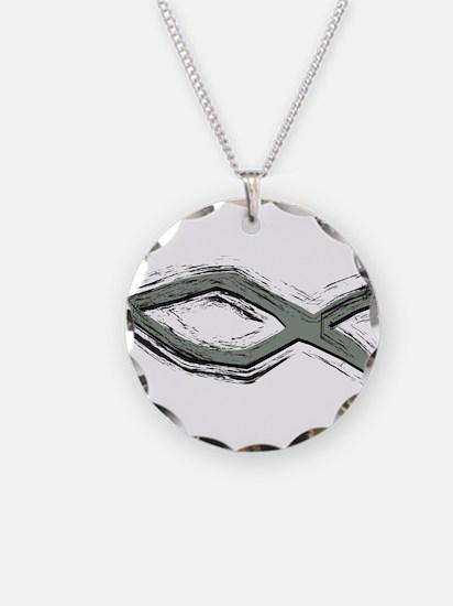 Grey Fish - Ichthys - Christ Necklace Circle Charm