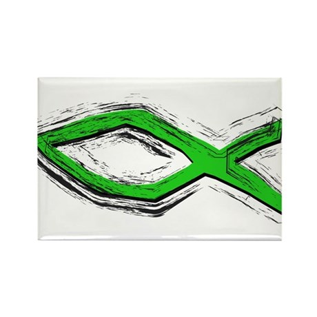 Green Fish - Ichthys - Chris Rectangle Magnet (100