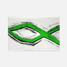 Green Fish - Ichthys - Chris Rectangle Magnet