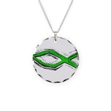 Green Fish - Ichthys - Chris Necklace Circle Charm