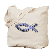 Blue Fish - Ichthys - Christ Tote Bag
