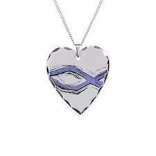 Blue Fish - Ichthys - Christ Necklace Heart Charm