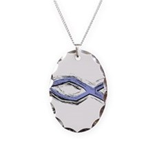 Blue Fish - Ichthys - Christ Necklace Oval Charm