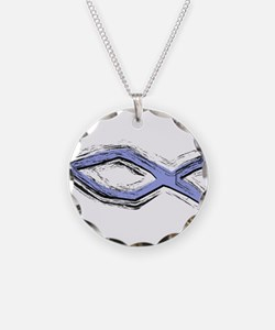 Blue Fish - Ichthys - Christ Necklace Circle Charm