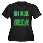 Not Drunk Awesome(green) Women's Plus Size V-Neck