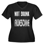 Not Drunk Awesome(white) Women's Plus Size V-Neck