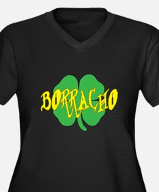 borracho shamrock Women's Plus Size V-Neck Dark T-