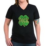 feck shamrock Women's V-Neck Dark T-Shirt