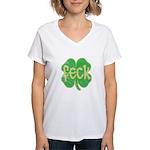 feck shamrock (faded) Women's V-Neck T-Shirt