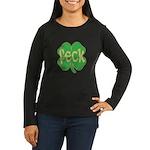 feck shamrock (faded) Women's Long Sleeve Dark T-S