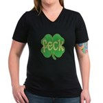 feck shamrock (faded) Women's V-Neck Dark T-Shirt