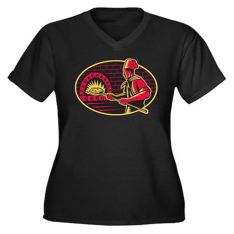 pizza baker Women's Plus Size V-Neck Dark T-Shirt