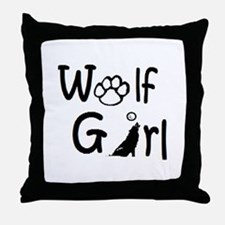 Unique Wolf girl Throw Pillow