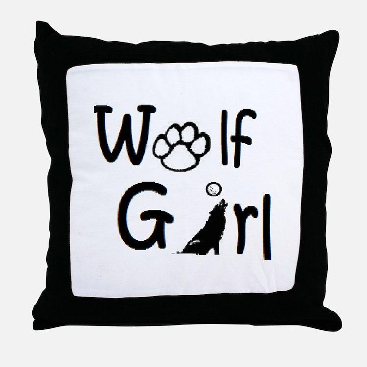 Cute Wolf girl Throw Pillow