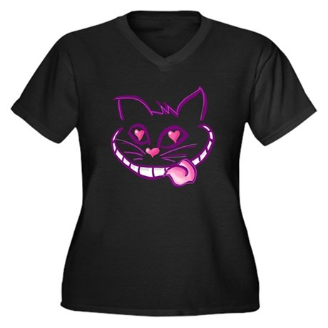 Mad Love Cheshire Women's Plus Size V-Neck Dark T-