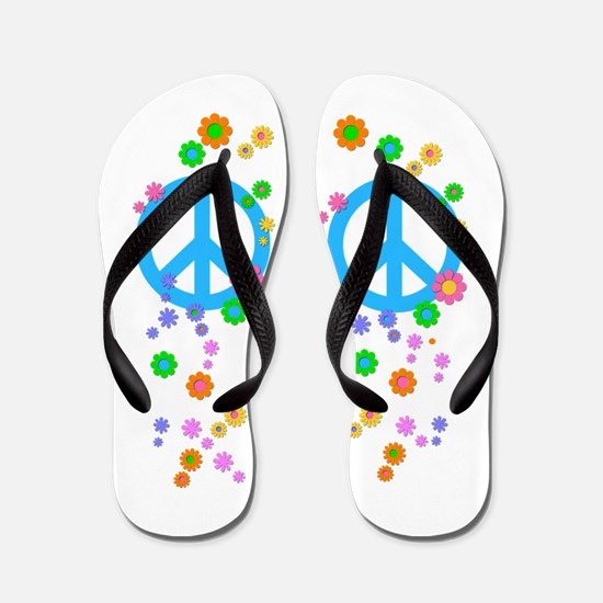 Peace sign and Flowers Flip Flops