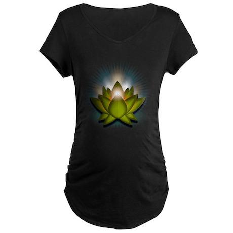 "Green ""Heart"" Chakra Lotus Maternity Dark T-Shirt"